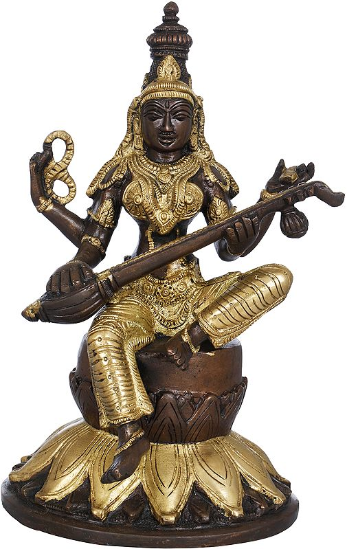 Goddess Saraswati Seated on Lotus