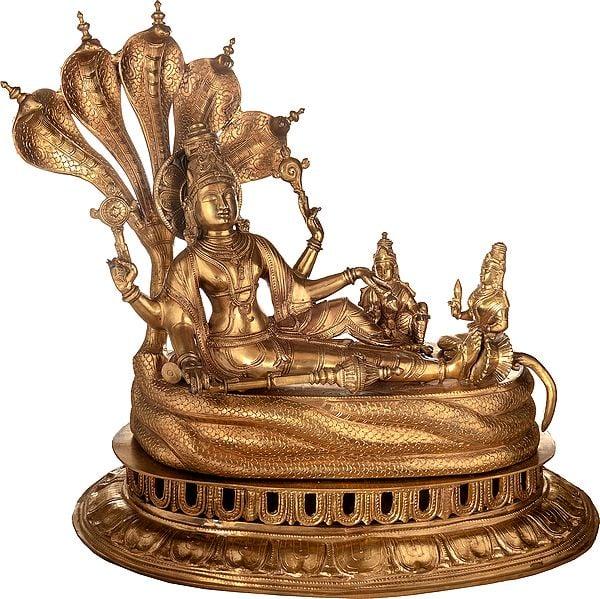 Sheshashayi Vishnu With Bhoodevi And Shridevi