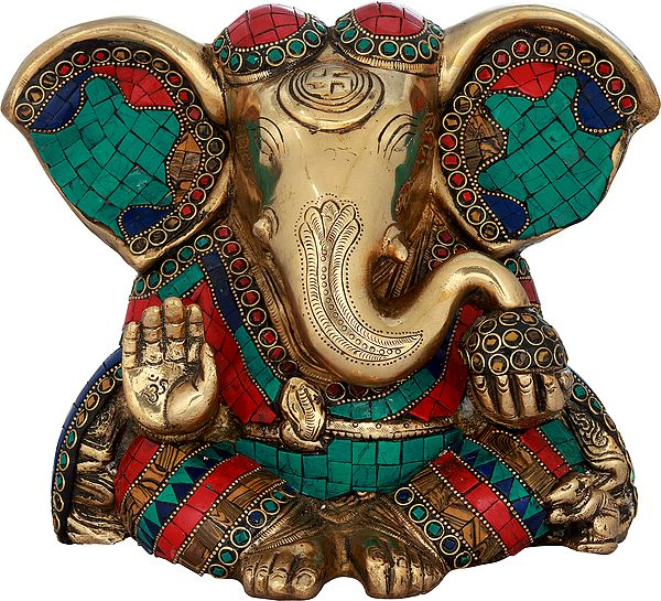 Inlay Blessing Ganesha with Large Ears