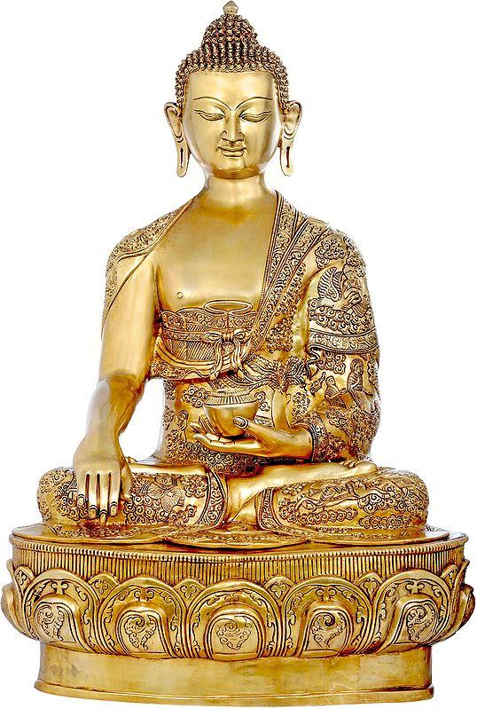 Large Size Lord Buddha in Bhumisparsha Mudra Wearing a Superfine Carved Robe - Tibetan Buddhist
