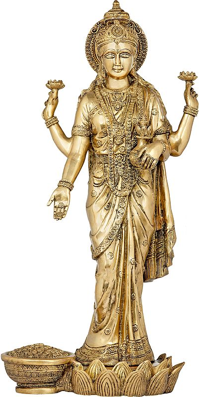 Haloed Standing Lakshmi Blesses You With A Steady Stream Of Plenty