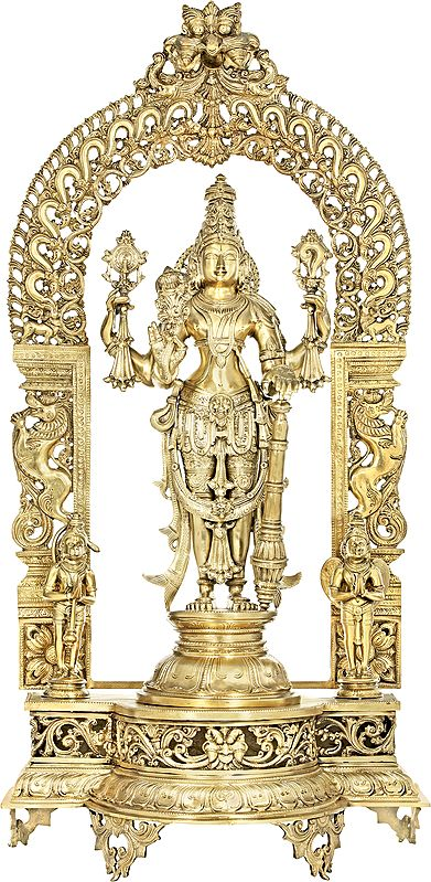 Lord Vishnu Flanked By Hanuman-Garuda