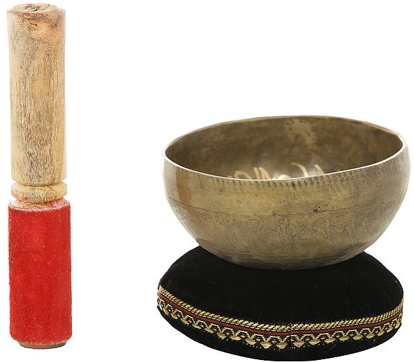 Tibetan Buddhist Singing Bowl with Tree of Life Image Inside
