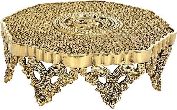 Ritual Chowki Engraved With Lotus flowers