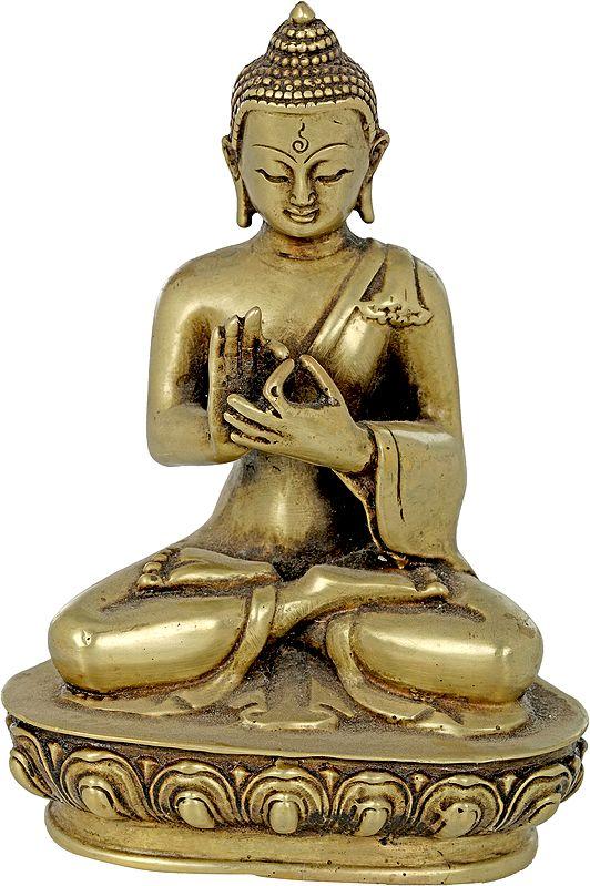 Tibetan Buddhist Lord Buddha in Dharmachakra Mudra - Made in Nepal