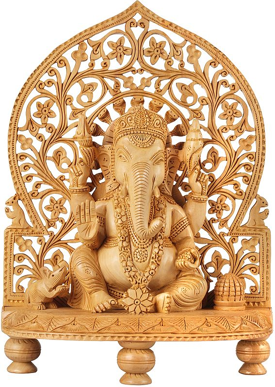 Blessing Ganesha Seated on Chowki With Floral Aureole