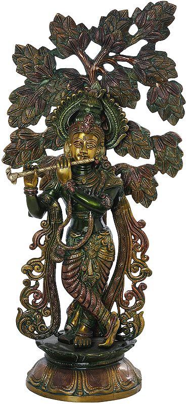 Krishna Making Music Under The Kadamba