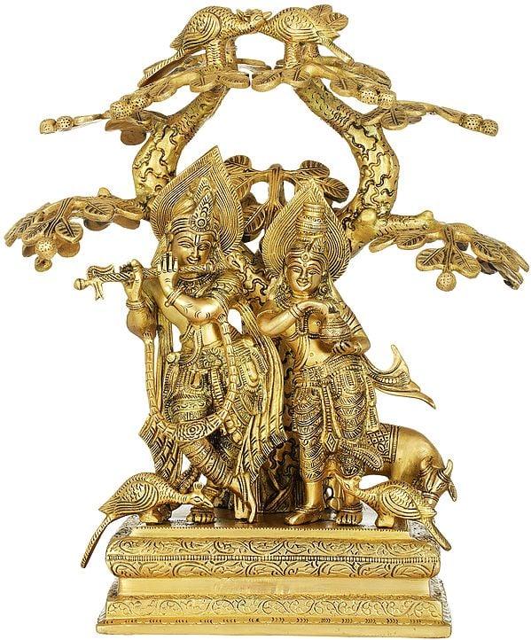 Radha Carrying Water Pots and Krishna Fluting For Her Under The Kadamba Tree