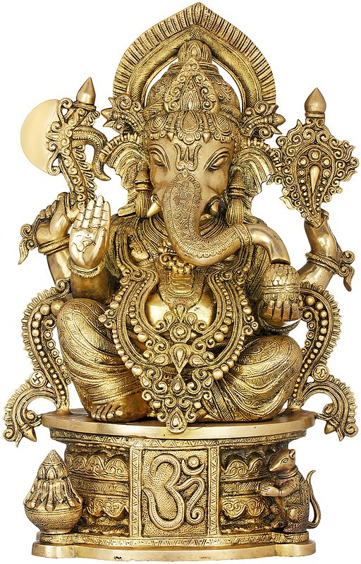 The Incomparable Beauty Of Ganesha, Seated On An AUM Pedestal