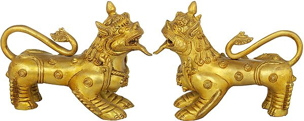 Nepalese Temple Lion Pair