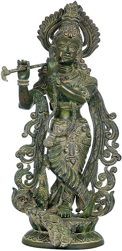 Fluting Krishna with Peacock