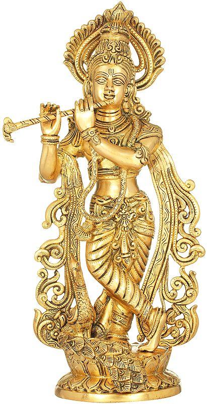 Fluting Krishna with Peacock