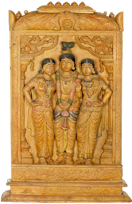 Lord Krishna With Queen Rukmini And Queen Satyabhama