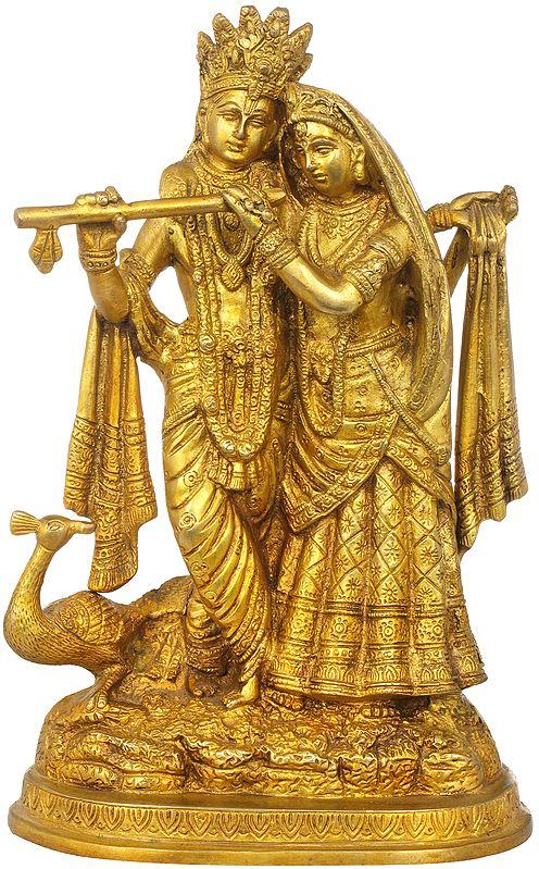 Radha-Krishna with Peacock