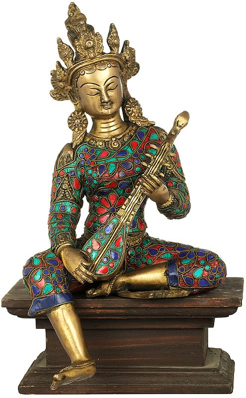 Goddess Saraswati Seated on Wooden Pedestal
