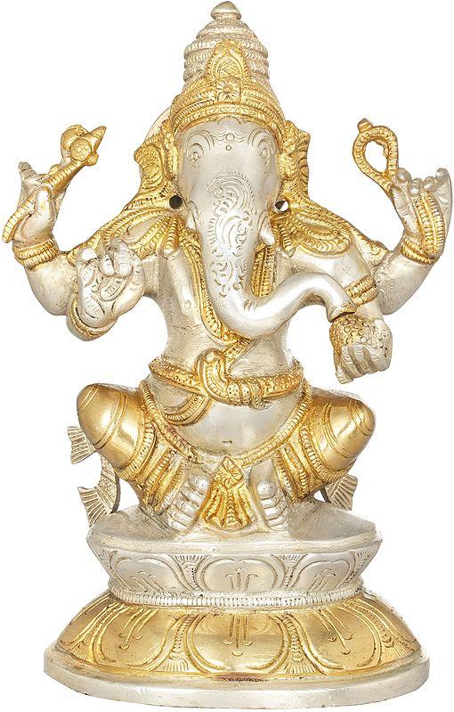 Ganesha on Double Lotus Base