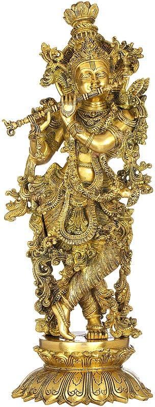Nicely Adorned Krishna On Lotus Pdestal