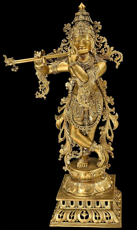 Superfine Lord Krishna, Contained In A Network Of Vines