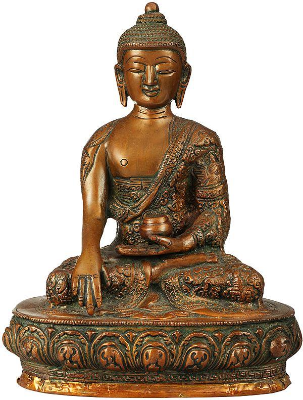 Tibetan Buddhist Lord Buddha, His Hand In Bhumisparsha Mudra