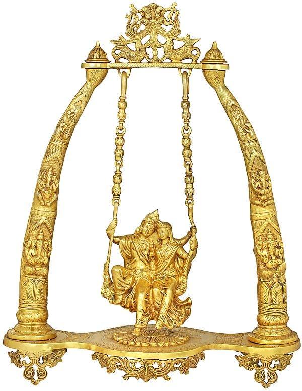 Radha Krishna on a Swing - Large Size