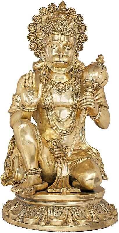 Large Seated Hanuman in Abhaya-mudra
