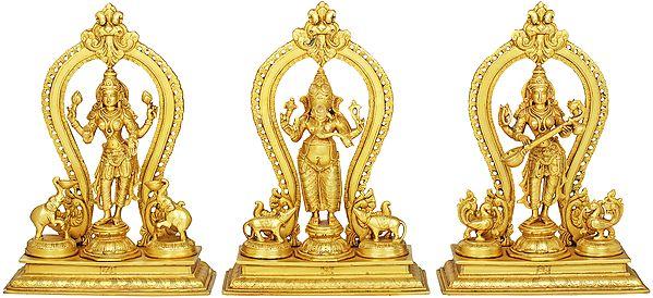 Lakshmi Ganesha Saraswati (Set of Three Statues)