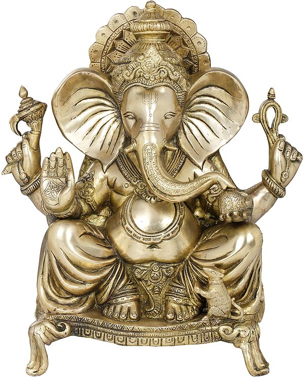 Blessing Ganesha With Large Ears Seated On a Chowki