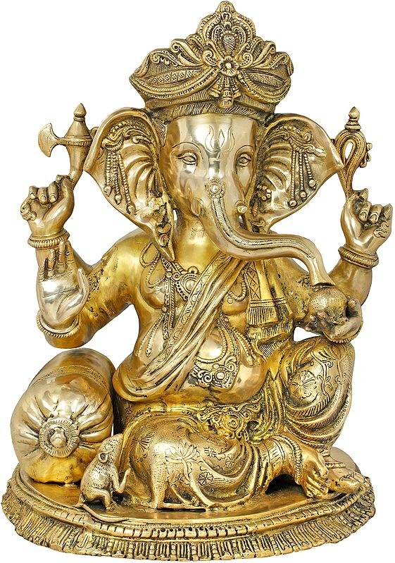 Chaturbhuja Relaxing Ganesha Seated on a Chowki with Cushion
