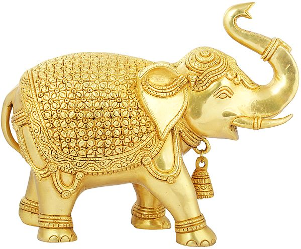 Elephant Decorated with Lotus Flowers and Trunk Upraised High (Supremely Auspicious according to Vastu)