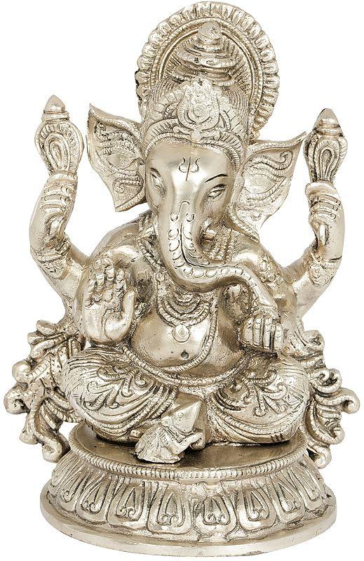 Shri Ganesha Seated on Lotus Chowki
