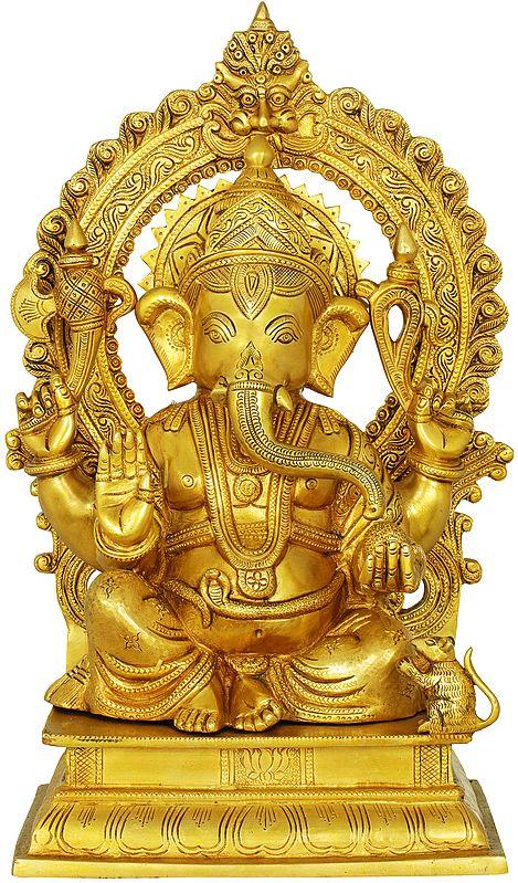 Blessing Ganesha Seated on a Chowki With Aureole