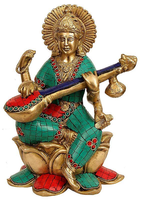 Goddess Sarawati Seated on Lotus and Playing Veena