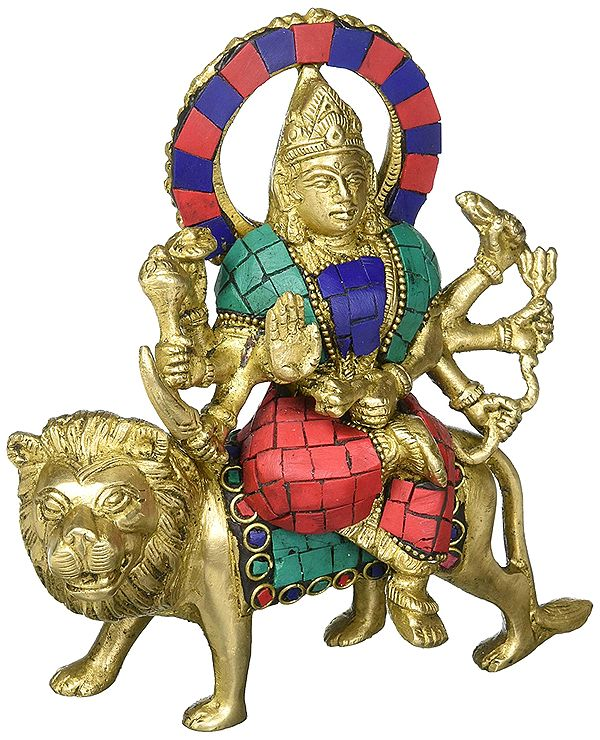 Mother Durga Sitting on Tiger (Inlay Statue)