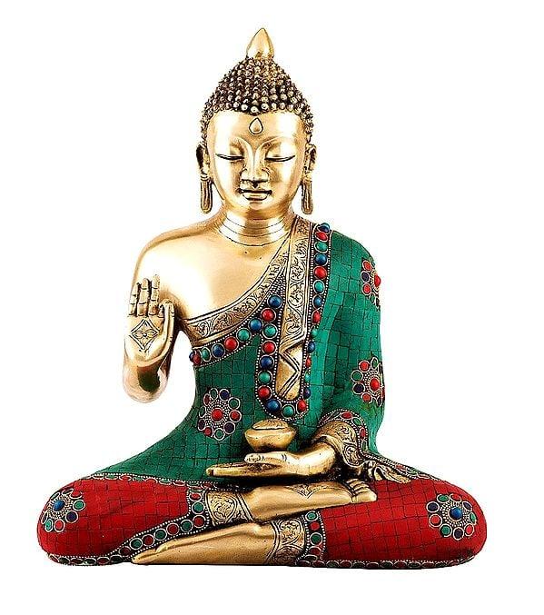 Tibetan Blessing Buddha with Inlay