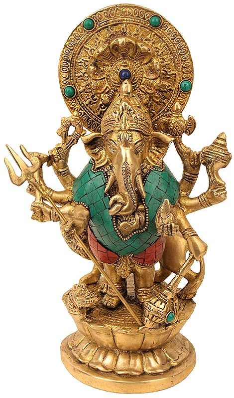 Standing Ganesha with Lion and Inlay