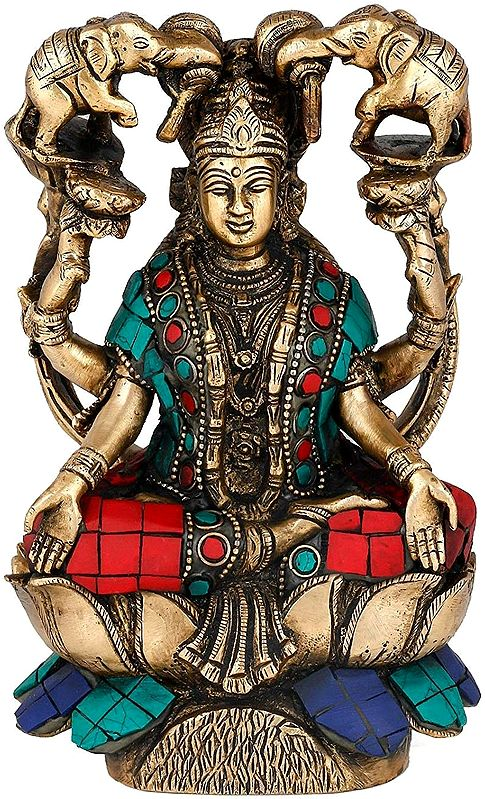 Goddess Lakshmi Seated on Lotus with Inlay