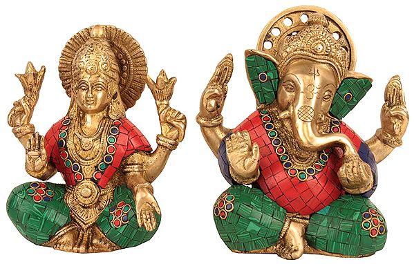 Lord Ganesha and Goddess Lakshmi with Inlay