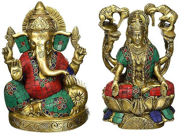 Lord Ganesh and Goddess Lakshmi with Inlay