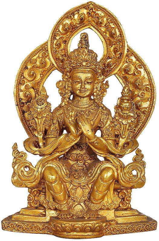 Tibetan Buddhist Seated Buddha, His Hand In Dharmachakra Mudra