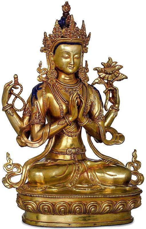 Chenrezig (Four-Armed Avalokiteshvara)-Made in Nepal Tibetan Buddhist Deity