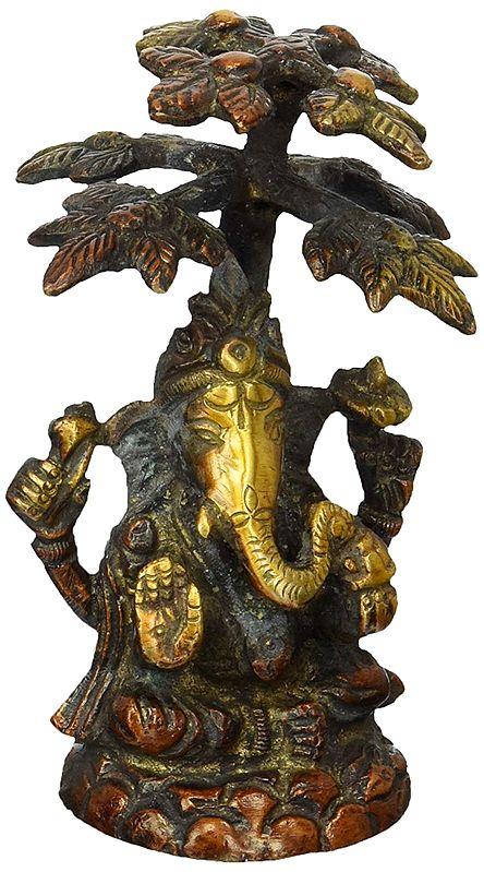 Lord Ganesha Seated Under Tree
