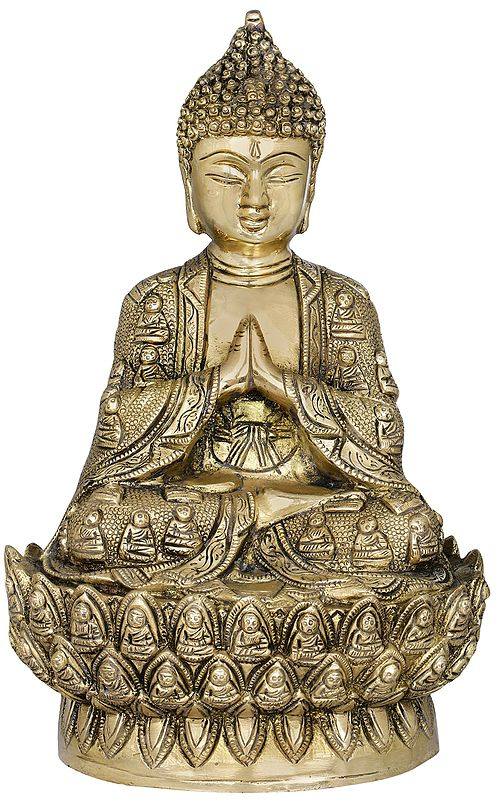 Lord Buddha in Namaskara Mudra - Thousand Buddha Wall