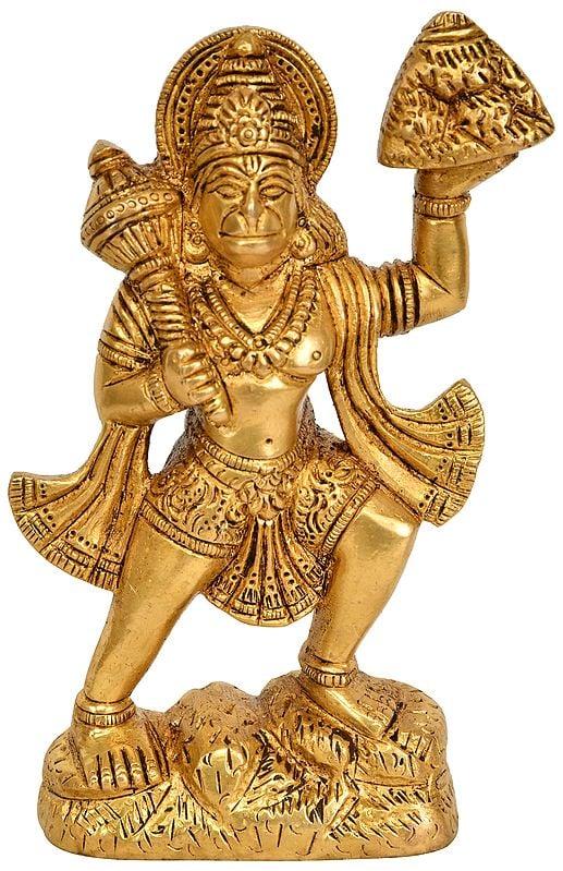 Lord Hanuman Standing On Mountain