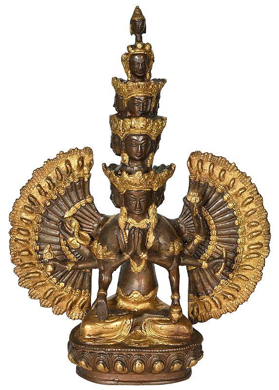 Eleven Headed Thousand Armed Avalokiteshwara (Tibetan Buddhist Deity)