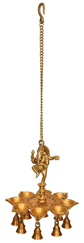 Dancing Ganesha Eight Wick Hanging Lamp