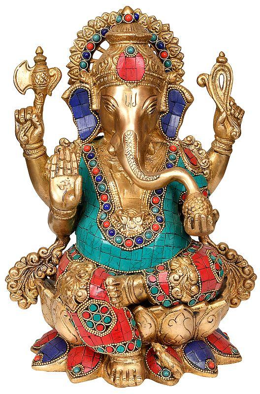 Ashirwad Ganesha with Trishul Mark on Forehead