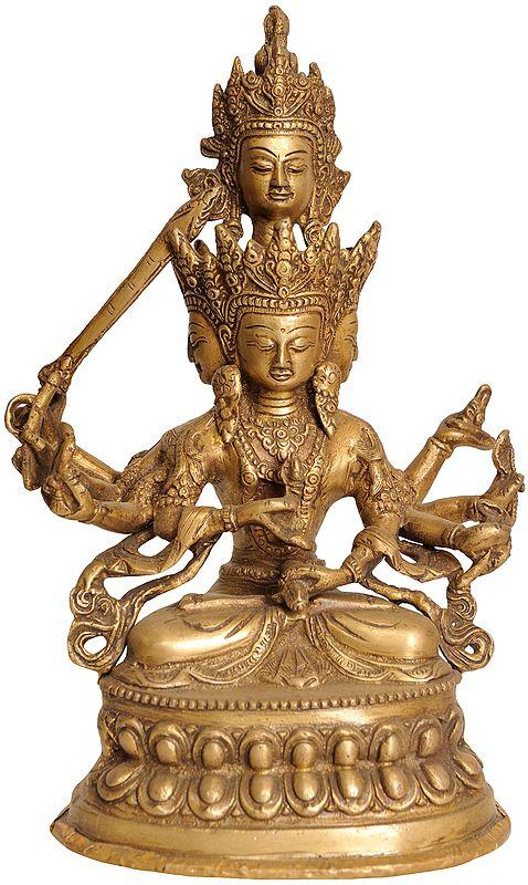 Tibetan Buddhist Deity Four-Headed Manjushri (MahaManjushri)