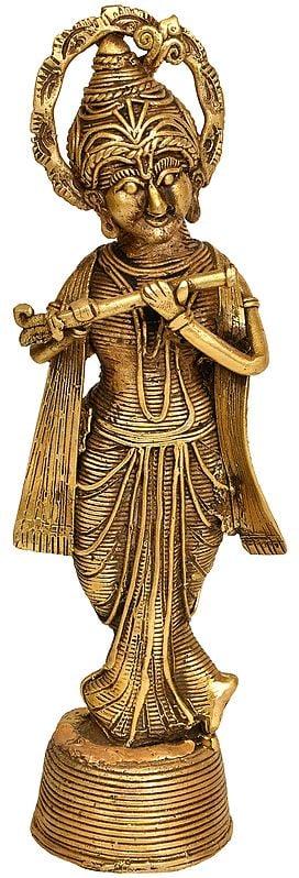 Fluting Lord Krishna (Tribal Statue from Bastar)