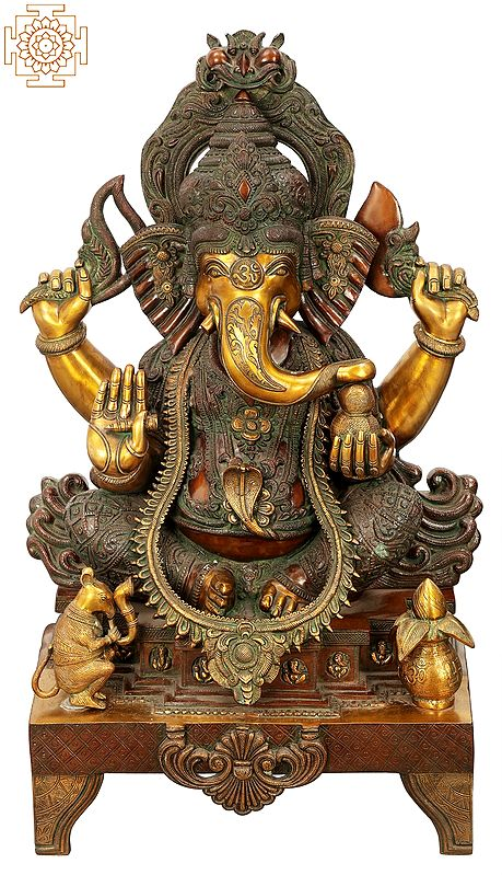 "34"" Large Size Lord Ganesha in Ekadanta Manifestation   Brass Statue   Handmade   Made In India"