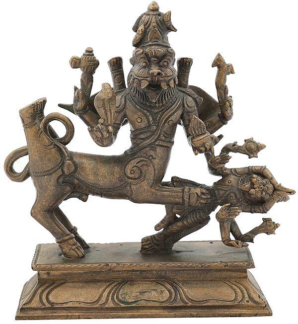 "6.2"" Lord Sharabha Subdues The Unpacifiable Narasimha | Handmade | Panchaloha Bronze"